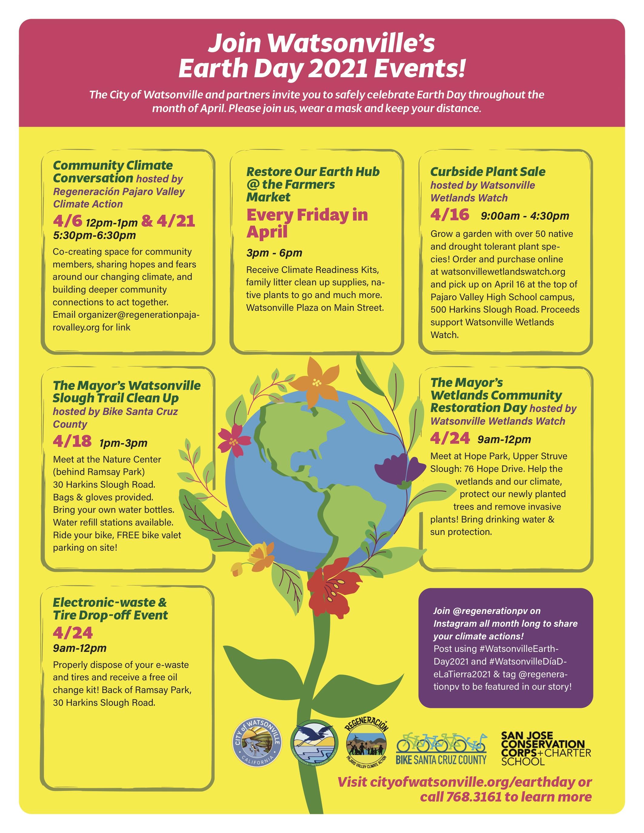 Watsonville Earth Day 2021 Flyer Bilingual